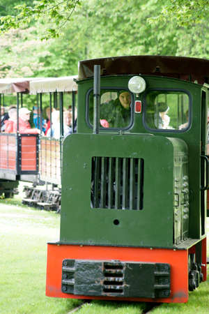 narrow gauge railroads: Berlin Germany 06 May 2015: The park railway and train of the Britz Garden in Berlin39s diatrict Neuklln with visitors and tourists on May 06 2015 in Berlin. Editorial