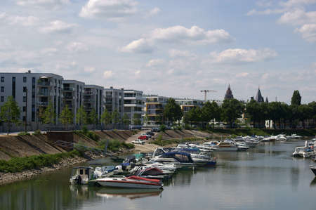 motor boats: Mainz, Germany - July 25, 2015: The river port on the Victor-Hugo-shore with motor boats and small yachts on July 25, 2015 in Mainz.