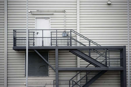 fire escape: An external staircase made of steel used at a public shopping  building also as fire escape.