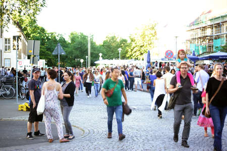 MAINZ: Mainz, Germany - July 9, 2015: A crowd with families, young people and students visited the Asta Summer Festival on the campus of the University of Mainz on July 09, 2015 in Mainz.