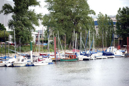 MAINZ: Mainz, Germany - August 14, 2015: The sailing boat harbor with sailing boats of the Police Sports Club in Mainz at inland port of the river Rhine on August 14, 2015 in Mainz. Editorial
