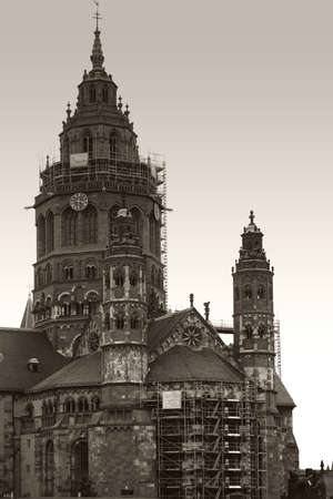 MAINZ: Mainz, Germany - September 11, 2015: The portrait of the Mainz Cathedral with the two small choir towers and the large west tower on September 11, 2015 in Mainz.