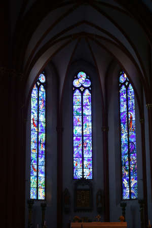 chagall: Mainz, Germany - July 10, 2015: The blue painted Chagall windows in the St. Stephens Church on at the altar on July 10, 2015 in Mainz.