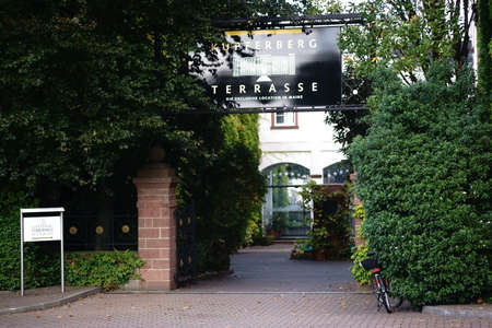 MAINZ: Mainz, Germany - September 19, 2015: The entrance to the Kupferberg terraces with a restaurant and the company Kupferberg seat on September 19, 2015 Mainz.