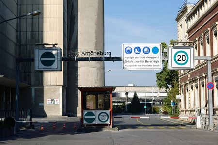 ag: Wiesbaden, Germany - October 02, 2015: The entrance sign of the plant Amoeneburg of the industrial park Kalle-Albert of the Hoechst AG on October 02, 2015 in Wiesbaden.