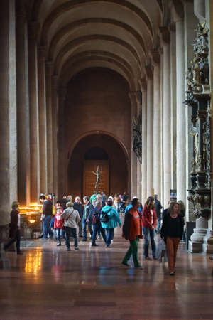 dome type: Mainz, Germany - September 4, 2015: The Beginning and the pillar vault of the Mainz Cathedral with visitors and religious art on September 4, 2015 in Mainz.