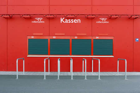 closed club: Mainz, Germany - May 17, 2014: Closed ticket booth or ticket sales desks at the Coface Arena stadium of the soccer club 1. FSV Mainz 05 on May 17, 2014 in Mainz.