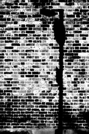 lamp shade: The closeup of a rustic dark brick wall with a lamp shade.
