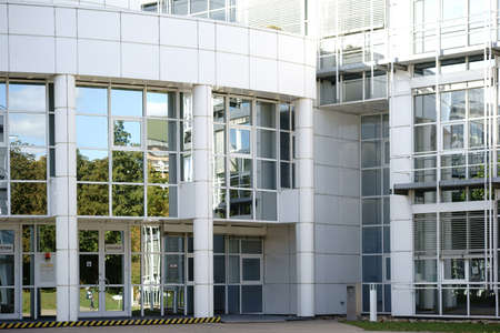 gutenberg: Mainz, Germany - September 26, 2015: The modern building and the main entrance of the Max Planck Institute for Polymer Research on the campus of Johannes Gutenberg University Mainz on 26 September 2015.