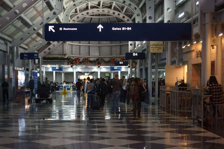december 21: Chicago, United States - December 21, 2015: The transit area and the departure terminal B in the Chicago OHare International Airport on December 21, 2015 in Chicago.