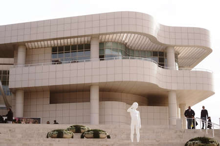 richard: Los Angeles, United States - December 26, 2015: The entrance stairs of the Getty Center a modern architectural complex designed by Richard Meier with security personnel and sculptures on December 26, 2015 in Los Angeles. Editorial