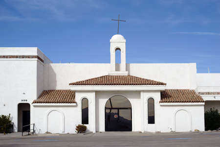 spanish style: Lake Havasu City, United States - December 23, 2015: A church in the Spanish style, with whitewashed walls and simple construction on December 23, 2015 in Lake Havasu City.