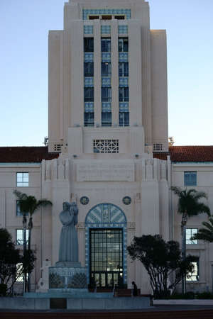 public servants: San Diego, United States - December 25, 2015: The building of the city administration on Harbor Drive in San Diego with a fountain and palm trees at the entrance to 25 December 2015 in San Diego. Editorial
