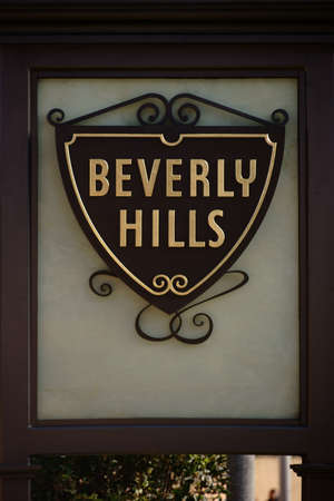 entrance sign: The entrance sign from the district Beverly Hills in Los Angeles.