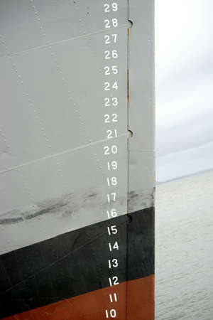 ship bow: The closeup of the scale of a low-level gauge on the side of a ship bow.