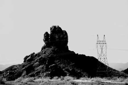 overburden: A striking rock formation on the way to Lake Havasu City.