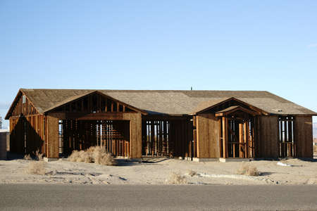 RELOCATED: The framework of a registered and abandoned house in the ghost town of Salton City.