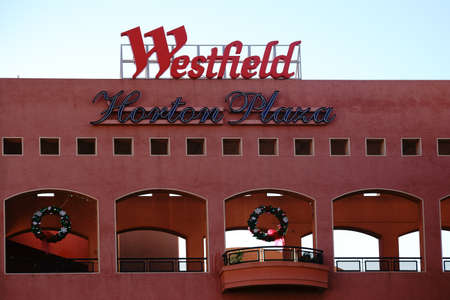 december 25: San Diego, United States - December 25, 2015: En passage with open windows and logo of the shopping center Westfield Horton Plaza San Diego on December 25, 2015 in San Diego. Editorial