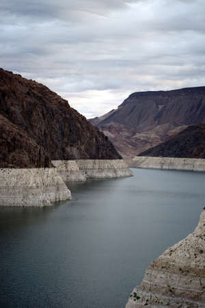 mead: A view of the reservoir lake Mead at Hoover Dam with the foothills of the Black Canyon. Stock Photo