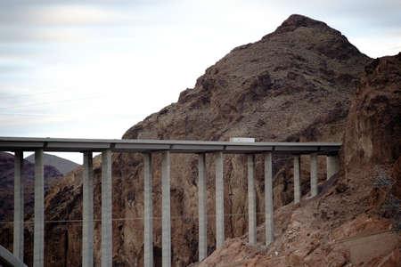 colorado river: The Hoover Dam Bypass bridge on arch bridge over the Colorado River in the Black Canyon.