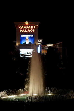caesars palace: Las Vegas, USA - December 23, 2015: An illuminated at night Fountain stands in a niche on Las Vegas Boulevard in front of the Hotel and Casino Caesars Palace on December 23, 2015 Las Vegas.