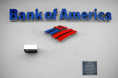 palm springs: Palm Springs, United States - December 24, 2015: The facade of the National Bank building of the Bank of America with signs and logo on December 24, 2015 in Palm Springs. Editorial