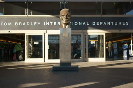 lax: Los Angeles, United States - December 28, 2015: The entrance of the Tom Bradley departure terminal for international flights at the airport LAX on December 28, 2015 in Los Angeles. Editorial