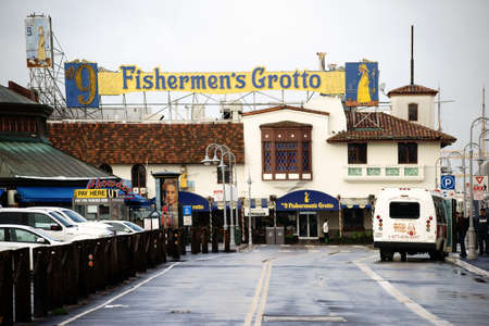 december 21: San Francisco, United States - December 21, 2015: Parking in front of the seafood restaurant Fishermans Grotto at the San Fransisco Bay on December 21, 2015 in San Francisco.