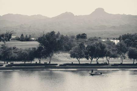 shores: The shores of Lake Havasu with a promenade and a park and golf course. Stock Photo