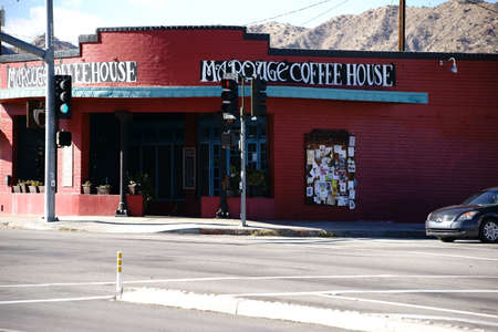yucca: Yucca Valley, United States - December 24, 2015: The facade of an old vintage coffee house in the southwest of California on December 24, 2015 in Yucca Valley.