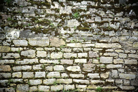 bulwark: The close-up of a wall with quadrangular ancient rock stones with moss in the cracks and crevices.