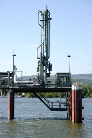 delivers: A pumping station is in the midst of a river and delivers water to produce drinking water.
