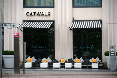 seating area: Berlin, Germany - June 21, 2016: The external seating area of the Catwalk Fashion Bar and Lounge at the Marriott Hotel Potsdam Square on June 21, 2016 in Berlin.