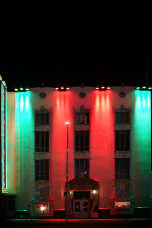 Hollywood boulevard: Los Angeles, United States - December 27, 2015: The facade of the night illuminated colorful Hollywood Museum at the Hollywood Boulevard on December 27, 2015 in Los Angeles.