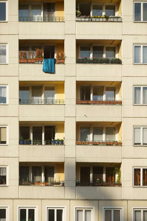 multistory: An old listed multistory residential building with nostalgic balconies. Stock Photo