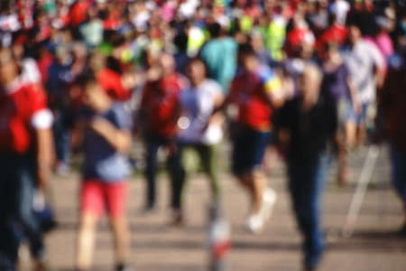 soccer fans: The blur of soccer fans when leaving a soccer game.