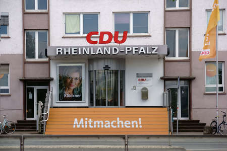 Mainz, Germany - July 14, 2016: The entrance of the party headquarters of the Christian Democratic Union of Rhineland Palatinate on July 14, 2016 in Mainz.