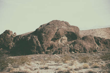 striking: A striking rock formation in the Mojave desert on the way to Death Valley.