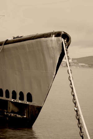 warship: The bow of a warship and submarine.
