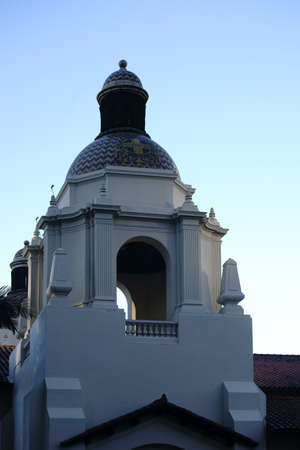 The domed tower of the Spanish Colonial station built Station Santa Fe in San Diego.