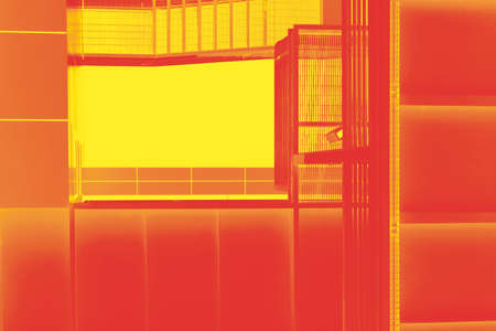 fire escape: The bottom view of a conceptual and abstract colored fire escape. Stock Photo