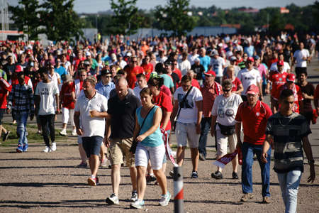 MAINZ: Mainz, Germany - August 6, 2016: Fans flock out of the Opel Arena from a home game of the 1. FSV Mainz 05 on August 6, 2016 Mainz. Editorial