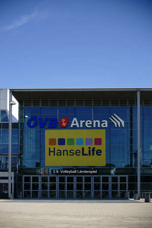 venue: Bremen, Germany - August 30, 2016: The modern glass facade of the �-VB Arena, at entertainment venue with on information to a volleyball international match on August 30, 2016 in Bremen. Editorial