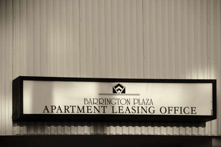 landlord: Los Angeles, United States - December 27, 2015: The sign of the Barrington Plaza building a landlord for apartments on Wilshire Boulevard on December 27, 2015 in Los Angeles.