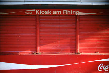 Cologne, Germany - November 24, 2016: The closed window shutters of the kiosk on the Rhing, a souvenir shop on the banks of the river Rhine on November 24, 2016 in Cologne. Editorial