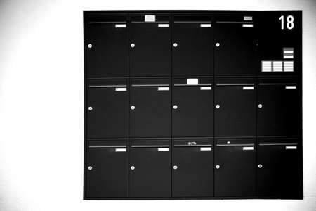 Lockers or stacked and stacked letterboxes of a multi-family house.