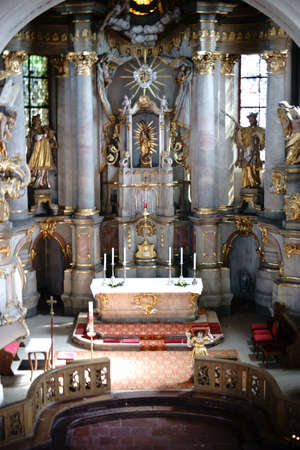 Mainz, Germany - May 14, 2017: The pompous altar of the St. Stephan church with gold-decorated sacred art on April 20, 2017 in Mainz.