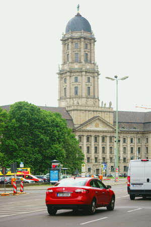 Berlin, Germany - June 21, 2016: Traffic on the Spandau street at the Whey market in front of the Old Town Hall on June 21, 2016 in Berlin.