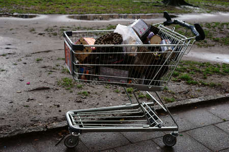 Berlin, Germany - January 03, 2018: The garbage remnants of New Years Eve celebration like lightning and flares are burning down in a shopping cart on January 03, 2018 in Berlin.