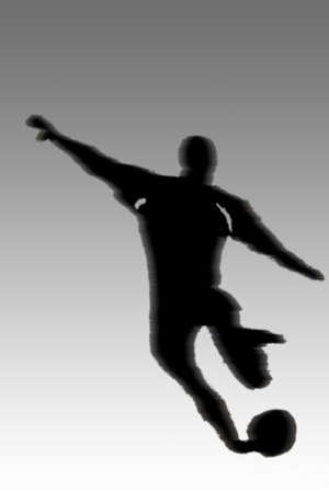 The outline and illustration of a football player during a shot.                           Standard-Bild